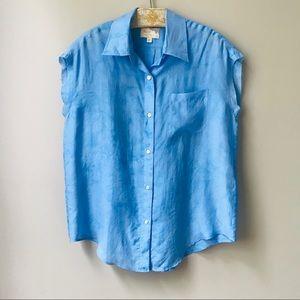 Elizabeth and James Silk Shirt Size XS Blue Blouse